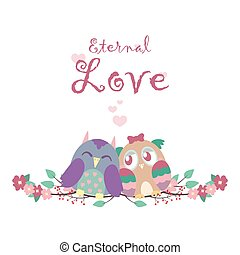 Valentine's card with owls