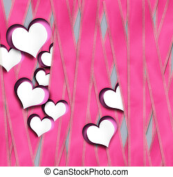 Valentines card with paper hearts