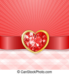 Valentines card with red diamond