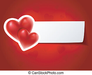 Valentine`s card with red hearts