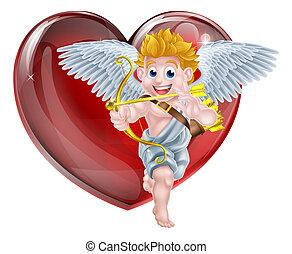 valentines, caricatura,  cupid, Dia