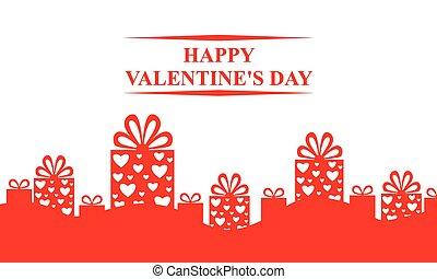 valentines, cartão, com, decorativo, presentes