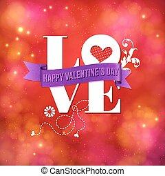 valentines, cartão, desenho, para, um, amado