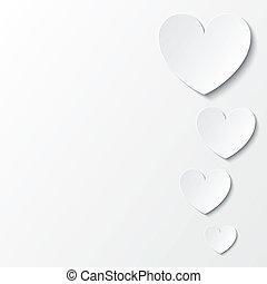 valentines, carta, white., cuori, giorno, scheda