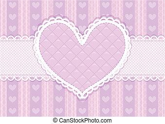 valentines, carte, mignon, vecteur, pourpre, rose