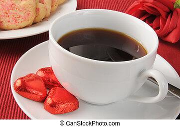Valentine's chocolates and coffee