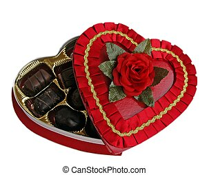 red box with rose and chocolate candy