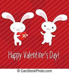 valentines, coelhos, dia, cartão