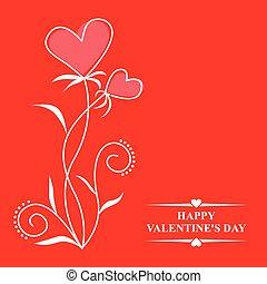valentines, com, contorno, corações, flores, ligado, experiência vermelha