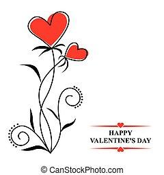 valentines, com, contorno, corações, flores