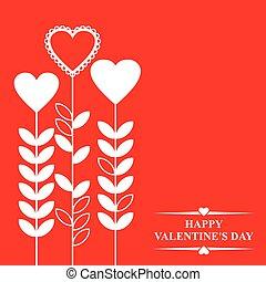 valentines, com, corações, flores, ligado, experiência vermelha