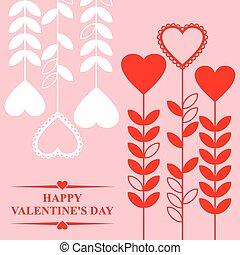 valentines, com, corações, flores, ligado, fundo cor-de-rosa