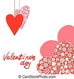 valentines, com, patterned, corações
