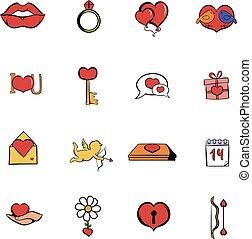 Valentines comics icons set cartoon