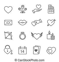 valentines, contorno, golpe, iconos