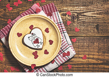 Valentine's cookies on rustic background