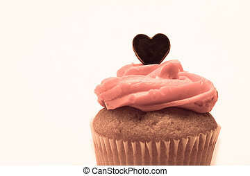 Valentines cupcake with pink icing