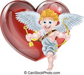 valentines, cupido, e, cuore
