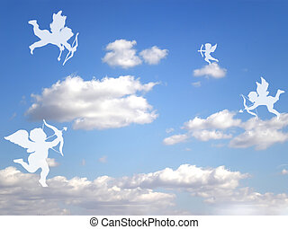 valentines cupids - valentines day white cupids on cloudy ...