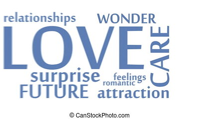 Valentine's cute words motion intro. Flat style. 3D...