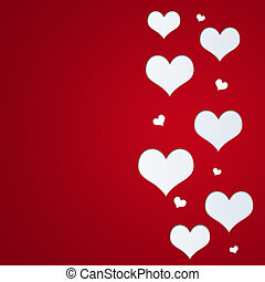 holiday valentines day cutted red heart shapes on red background