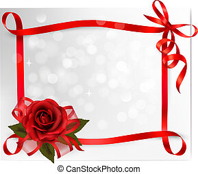 valentine`s dag, achtergrond., het rood nam toe, met, cadeau, rood, bow., vector, illustration.