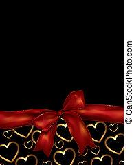 valentines dag, achtergrond, met, boog