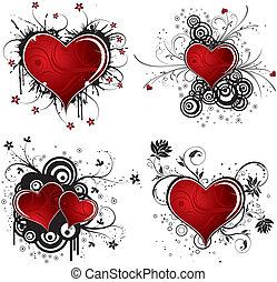 valentines dag, achtergrond, met, hartjes, en, bloem