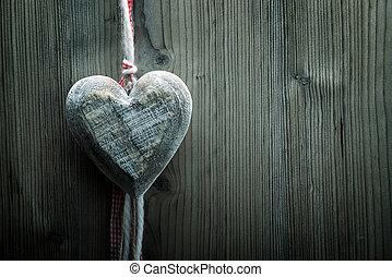 valentine's dag, behang, -, groot, hout, hart, op, hout, achtergrond