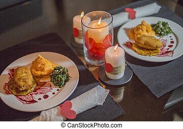 valentines dag, diner, scène, en, liefde