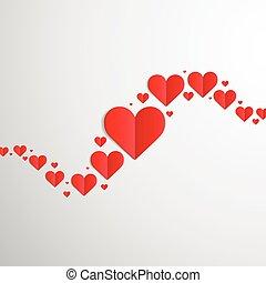 valentines dag, kaart, met, hartjes