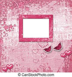 valentines dag, kaart, met, hartjes, voor, felicitatie, om...