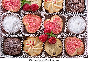 valentines dag, koekjes, in, een, doosje