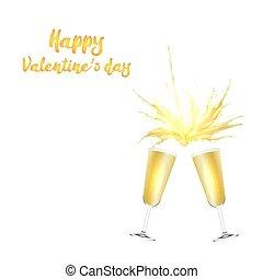 valentine's dag, vector, kaart, met, champagne