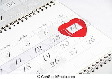 valentine\'s, date, calendrier, jour