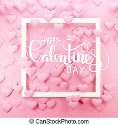 Valentine's day 3d illustration. Minimalist greeting card with many hearts.