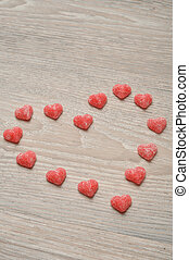 Valentine's Day - a heart made out of sugar heart shape candy