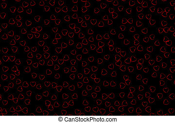 Valentine's Day Abstract 3D Background With Black Hearts