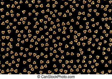 Valentine's Day Abstract 3D Background With Gold Hearts on Black