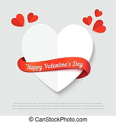Valentines day abstract background cut paper heart