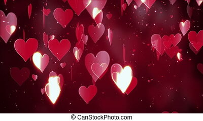 Valentine's day abstract background, flying hearts and particles on red.