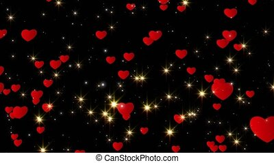 Valentine's day abstract background, flying hearts and...