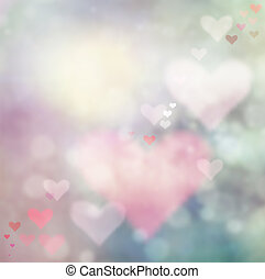 Valentines day abstract nature background with bokeh lights and hearts