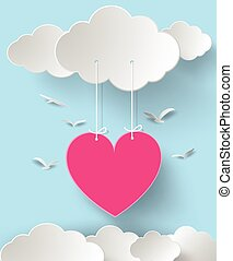 Valentine's day abstract background with cut paper heart. ...
