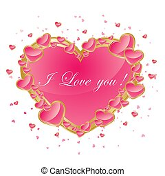 Valentines day abstract background with pink heart. Vector illustration