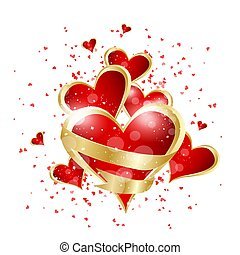 Valentines day abstract background with red heart. Vector illustration