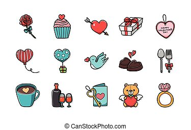 Valentine's day and love icons set,eps10