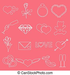 valentine's day and love outline icons eps10