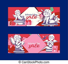 Valentines day angel statue sale offer banner template vector illustration. Clearance background flyer, poster.