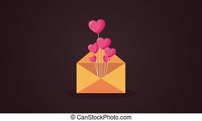 valentines day animated card with envelope and hearts